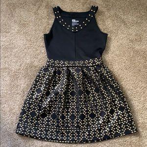 Girls black metallic geo dress